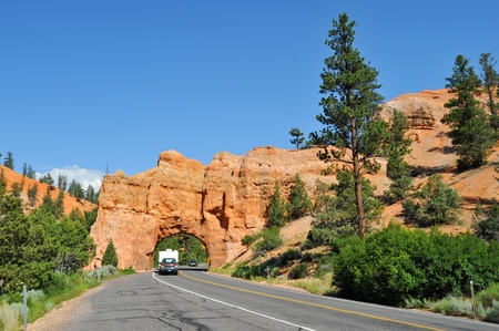 Canper entering Bryce Canyon national park photo