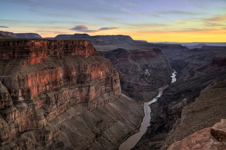 Grand Canyon - Toroweap Point after sunset Stock Photo