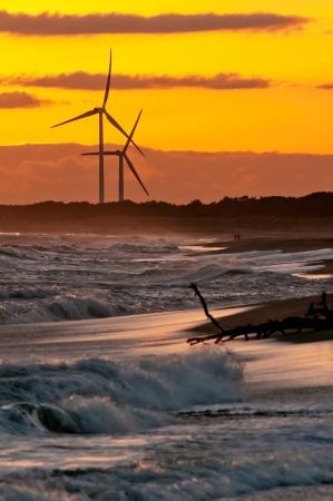 Wind-Turbines during sunset photo