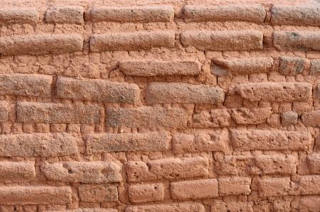 Adobe Brick Wall in Santa Fe, New Mexico USA Stock Photo