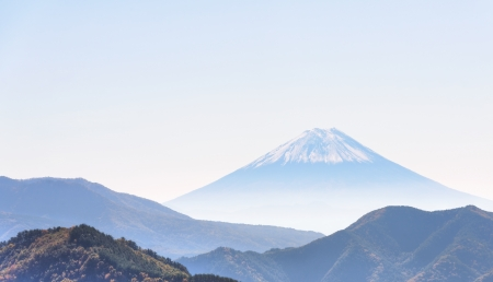 Majestic snow-capped Mount Fuji, view from the north side.