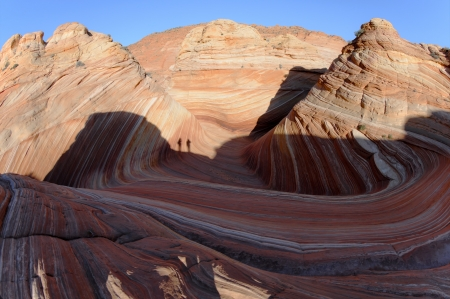 2 hikers in the morning light at Coyote Buttes North. Stock Photo - 17314918
