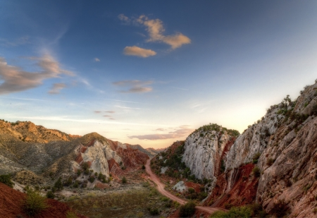 hdri: HDR image of Colorful rock formations at Cottonwood Canyon Road  during sunset.Utah, USA.