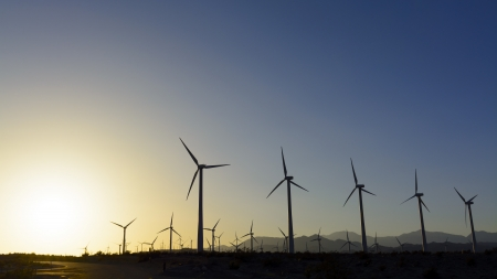 powe: Windfarm at sunset, Palm Springs, California.