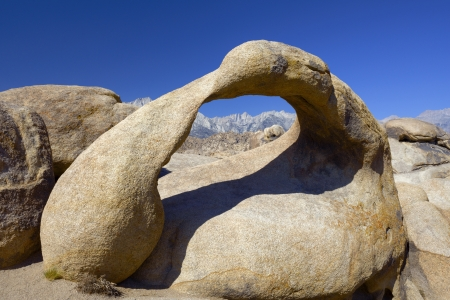 Mt Whitney through Arch Rock called Mobius Arch in Alabama Hills, California  photo
