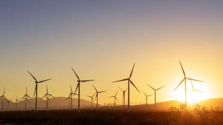 Thousands of wind turbines, in Tehachapi Pass, California  Stock Photo