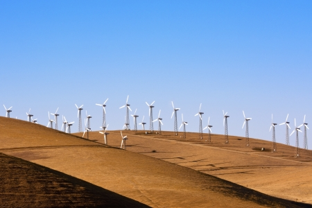 Wnd turbines in the golden hills of California Stock Photo