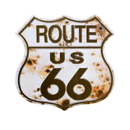 古いは、クリッピング パスとルート 66 Sign.Isolated を錆しました。