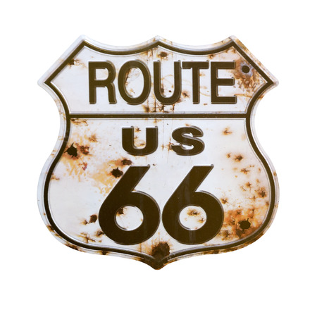 Old rusted Route 66 Sign.Isolated with a clipping path. Stock Photo