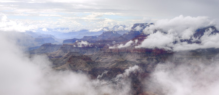 rock strata: Foggy Grand Canyon after storm.