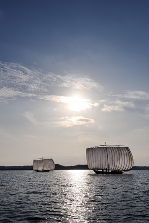 Traditional Japanese sail fishing boat `Hobikisen` on Lake Kasumigaura in Ibaraki Prefecture.