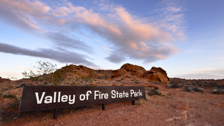 entrance sign: Valley of Fire State Park east entrance sign Stock Photo