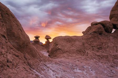 hoodoo: A hoodoo at dusk. Goblin Valley State Park, Utah.