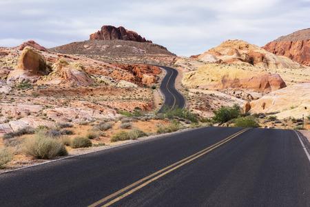 nevada desert: Winding road in desert landscape of Valley of Fire State Park, Nevada.
