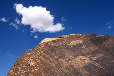 peinture rupestre: Ancien am�rindien p�troglyphes, petit site Black Mountain Petroglyph, Utah