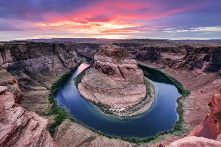 horse shoe: Colorado river Horse Shoe Bend at sunset, Page, AZ.