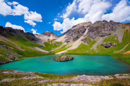 Island lake in San Juan Mountains, Colorado