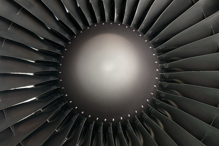 Closeup shot of aircraft jet engine turbine Stock Photo