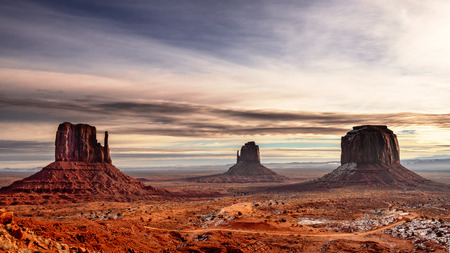 East and West Mitten Buttes, and Merrick Butte in Monument Valley  Navajo Tribal Park