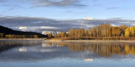 Oxbow Bend at dawn, Grand Teton National Park Stock Photo