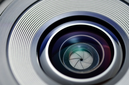 The close-up of a shutter. The lens of the camera was photoed. photo