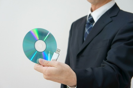 Information leakage attention. CD-ROM and USB memory am careful about information leakage. Stock Photo - 11692410
