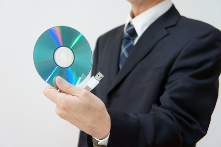 Information leakage attention. CD-ROM and USB memory am careful about information leakage. Stock Photo - 11692620