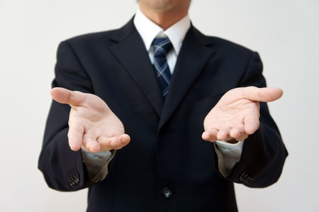 Pose of explanation or why. (Businessman)  Stock Photo