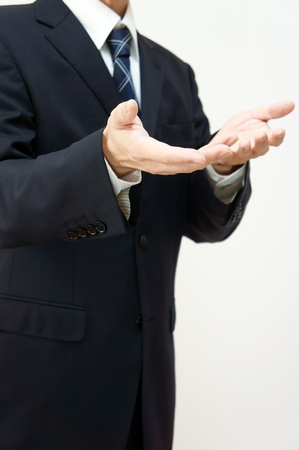 Pose of explanation or why. (Businessman)  photo