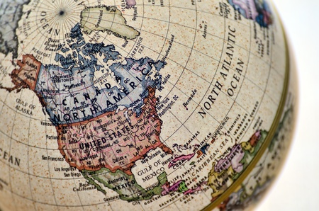 Globe North America. A globe is photoed by close-up. photo