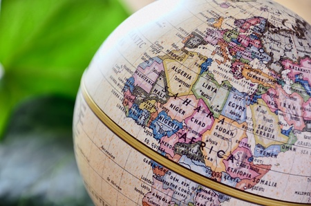 Globe West Africa. A globe is photoed by close-up.