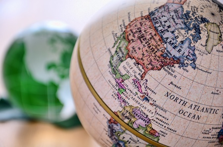 Globe (North America). A globe is photoed by close-up. Stock Photo