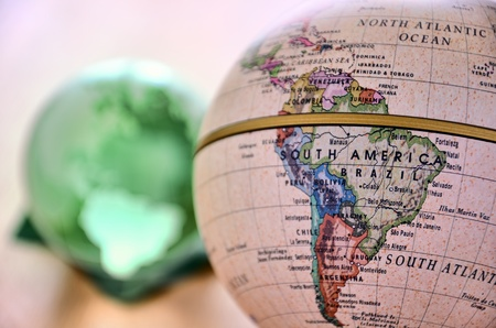 Globe (South America). A globe is photoed by close-up. Stock Photo - 11692478