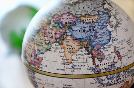 Globe (South Asia). A globe is photoed by close-up.