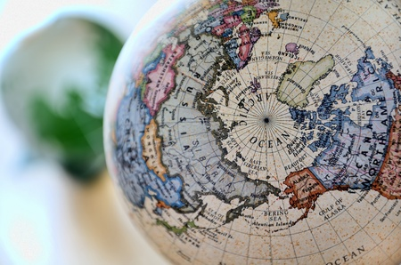 Globe (Arctic Ocean). A globe is photoed by close-up.