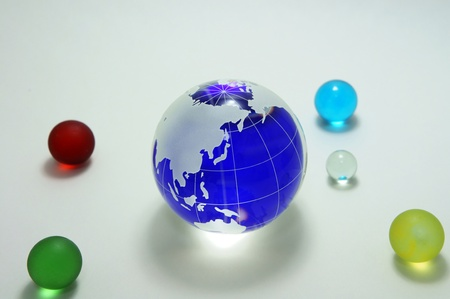 Globe of the blue glass. Image that appeals for environmental protection. Stock Photo - 11692585