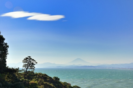 Sea and Mt. Fuji. Mt. Fuji which is visible from Enoshima. Stock Photo - 11819153