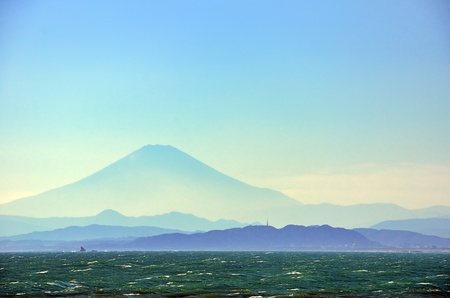 Sea and Mt. Fuji. Mt. Fuji which is visible from Chigogafuti of Enoshima.
