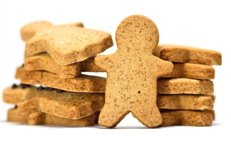 Ginger Cookie. Gingerbread man isolated on white background. photo