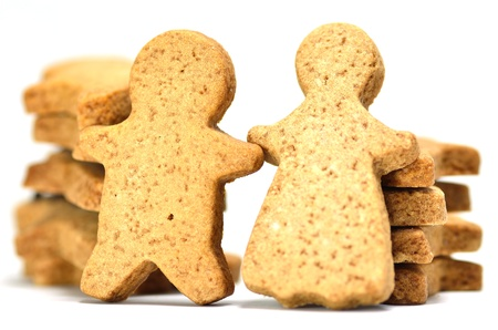 superimpose: Ginger Cookie. Gingerbread man isolated on white background.