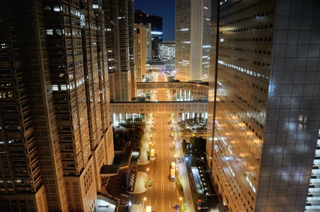 Shinjuku at night. Road in front of the Tokyo Metropolitan Government. Stock Photo