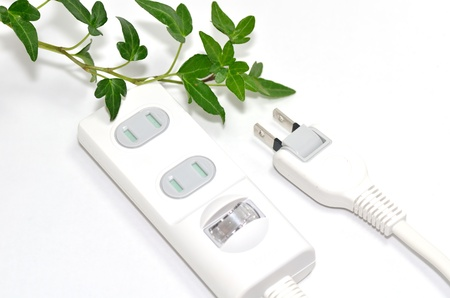 Power strip. Let eco-friendly power savings. photo