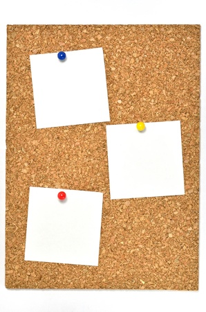Cork board and blank notes. The blank notes of three sheets stuck on the corkboard. photo