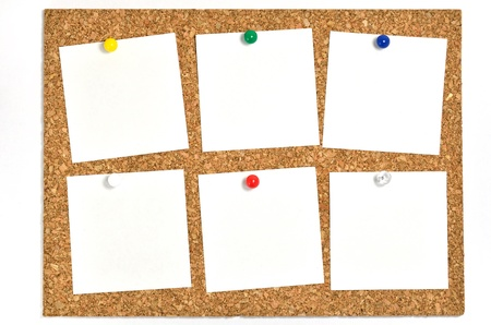 cork board: Cork board and blank notes. The blank notes of Six sheets stuck on the corkboard.