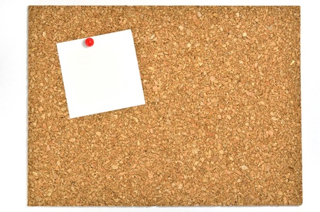 Cork board and blank notes. The blank notes of One sheets stuck on the corkboard. Stock Photo