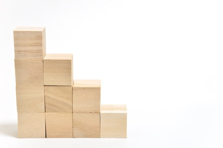 Stairs of square blocks. (on white background) photo