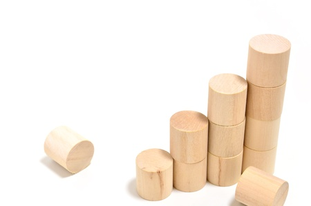 Stairs of Cylindrical column blocks. (on white background) photo