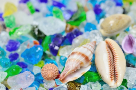 Shells and colored glass (close up). Image of summer. photo