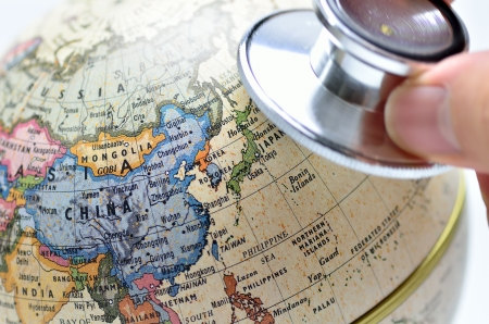 Close-up of East Asia in the colorful world map. photo