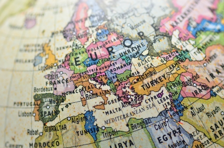 Close-up of Europe in the colorful world map. Stock Photo